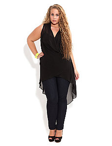 Longling Drape Wrap Top by City Chic