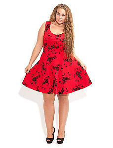 Flocked Skater Dress by City Chic