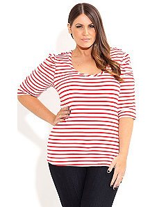 Stripe Button Top by City Chic