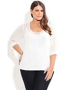 Pretty Lace Insert Top by City Chic
