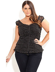 Spotty Vixen Top by City Chic