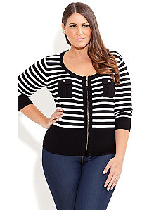 Zip Stripe Cute Pocket Cardigan by City Chic