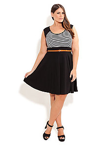 Stripe Skater Dress With Belt by City Chic