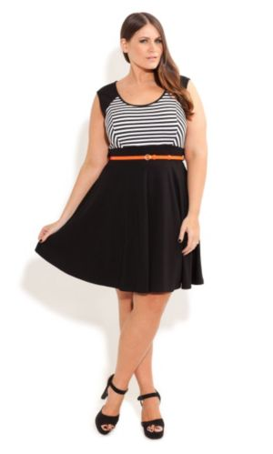 Stripe Skater Dress With Belt