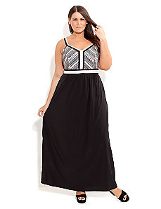 Aztec Mono Print Maxi Dress by City Chic