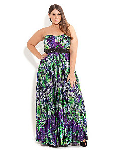 Diana Pleat Maxi Dress by City Chic