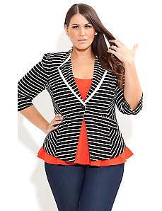 Stripe Button Detail Jacket by City Chic