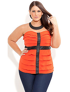 Vinyl Frill Corset by City Chic