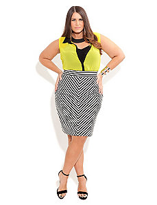 Ponte Stripe Pencil Skirt by City Chic