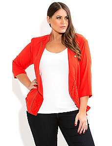 Hot Lace Biker Jacket by City Chic