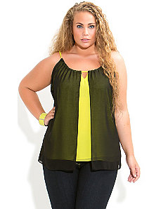 Contrast Chiffon Top by City Chic