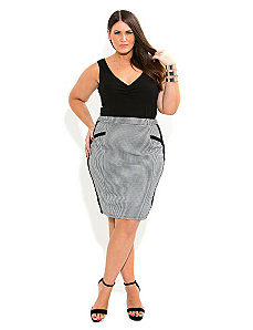 Houndstooth Skirt by City Chic
