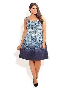 Floral Blues Dress by City Chic