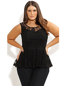 Lace Peplum Top by City Chic