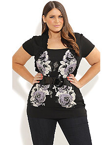 Rose Graffiti Shrug by City Chic