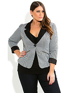 Houndstooth Jacket by City Chic