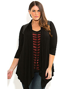 Splice Vinyl Drape Cardigan by City Chic