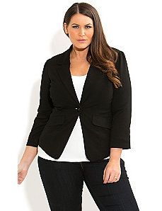 Ponte Frill Back Jacket by City Chic