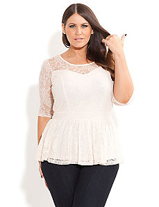 Lace Dancer Peplum Top by City Chic