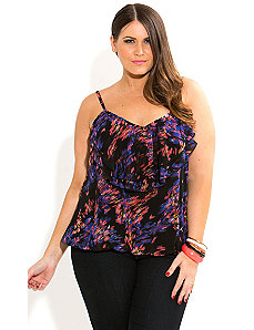 Strappy Floral Blur Top by City Chic