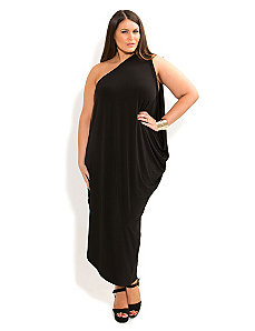 One Shoulder Drape Dress by City Chic