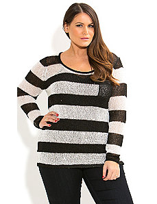 Sequin Stripe Jumper by City Chic