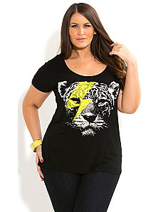 Tiger Flash Graffiti Top by City Chic
