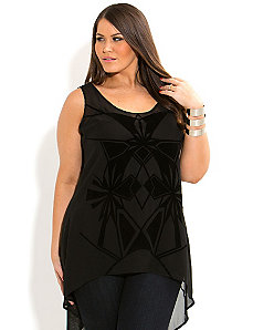 Flocked Geo Top by City Chic