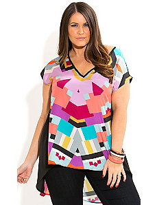 Hi Lo Color Geo Top by City Chic