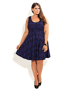 Lace Contrast Skater Dress by City Chic