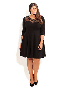 Lace Bead Collar Skater Dress by City Chic
