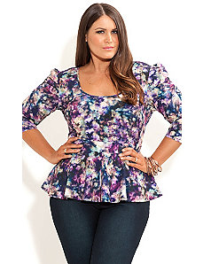 Violet Smudge Peplum Top by City Chic