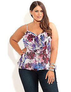 Floral Layer Strappy Top by City Chic