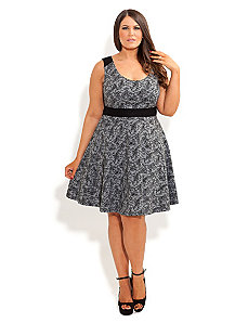 Lace Print Skater Dress by City Chic