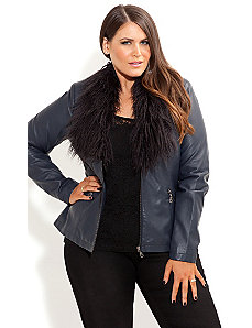Faux Fur Vinyl Jacket by City Chic
