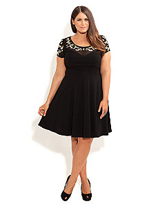 Filigree Skater Dress by City Chic