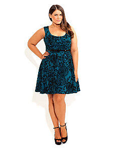 Flocked Animal Skater Dress by City Chic