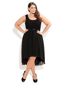 Lace Splice Dress With Belt by City Chic