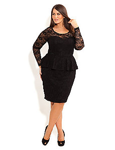 Lace Peplum Dress With Sleeve by City Chic
