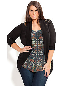 Stud Shoulder Cardi by City Chic
