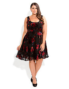Rich Floral Skater Dress by City Chic