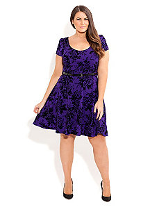 Oriental Flocked Skater Dress by City Chic
