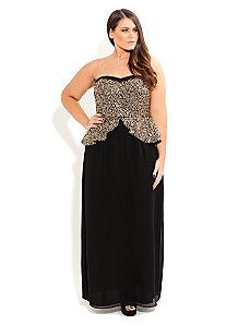 Sequin Peplum Maxi Dress by City Chic