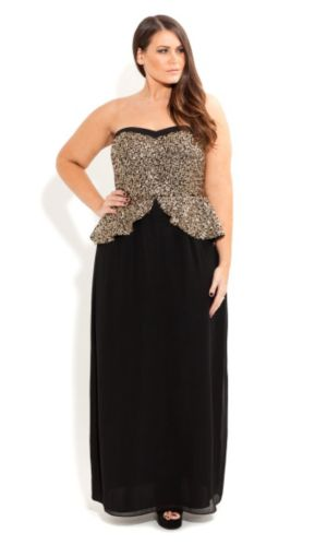 Sequin Peplum Maxi Dress