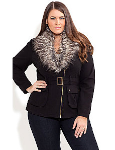 Fur Trim Utility Jacket by City Chic