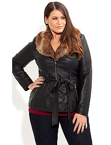 Fur Trim Jacket by City Chic