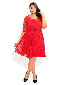 3/4 Lace Dancer Dress by City Chic