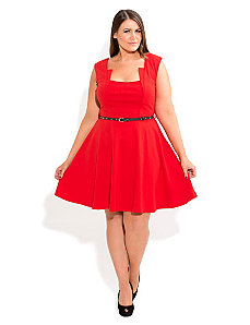 Stud Belt Skater Dress by City Chic