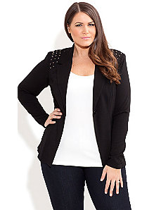 Stud Shoulder Jacket by City Chic