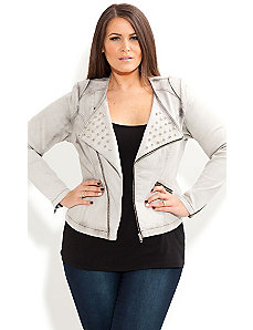 Stud Biker Jacket by City Chic